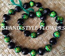 Hawaii Wedding GREEN BLACK Kukui Nut Lei Graduation Luau Hula Necklace Hibiscus