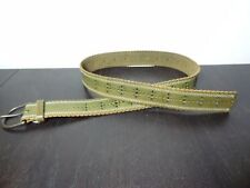 Women's American Eagle Outfitters Green Leather Belt Perforated Floral Design-S