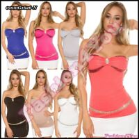 Sexy Women's Bandeau Top Ladies Party Top Everyday Top One Size 6,8,10,12 UK