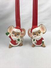 Vintage Santa Mice w/Toy Sack Candleholders-Japan 3�H