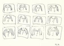 John Lennon Multiple Selfportrait Ink 1968 Vintage Postcard VD 4903 Estate 1995