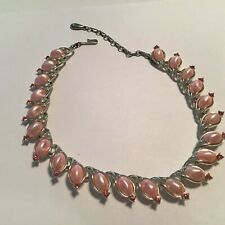 Vintage Lisner Pearly Pink Lucite Pink Rhinestone Silver Tone Link Necklace