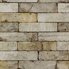 Rustic Brown, Beige & Grey Brick Effect Wallpaper - Industrial - LAST ROLL