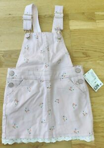 BNWT H&M 3-4 years girl pink floral dungaree dress lace NEW pinafore summer