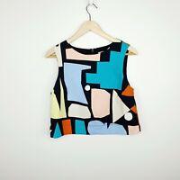 Gorman x Atelier Bingo Women's Shell Top Crop Geometric Print Size 8