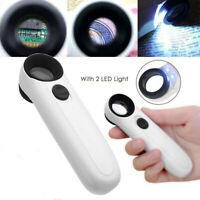 40X Magnifying Magnifier Glass Jeweler Eye Jewelry Loupe Loop with 2 LED Lightmz