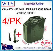 4/PK 20L Metal Jerry Can Gasoline Gas Fuel Can Emergency Backup Gas Caddy Tank
