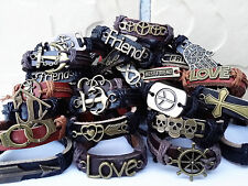 Wholesale Mixed Lots 24PCs Men's Women's Retro Leather Alloy Cuff Bracelets