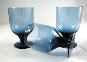 Three Rare Vintage Wedgwood Crystal whisky tumblers glasses Blue