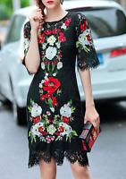 AU seller - Designer runway black embroidered prom evening cocktail lace dress