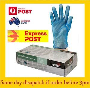 Disposable Vinyl Gloves Powder Free blue Large Box 100 Bastion EXPRESS