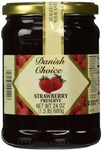 Danish Choice Strawberry Preserves - 24 oz. Glass Jar - Sealed New