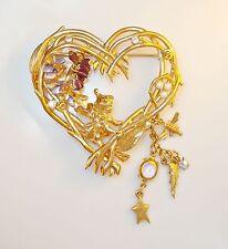 KIRKS FOLLY Pin Brooch Wisteria Fairy Pixie Heart Pearl Rhinestone Enamel