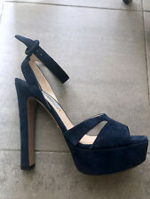 Sandali blu camoscio PRADA suede navy sandals heels EU 37,5 UK4,5 as new!