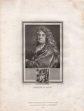 1825 georgiano Portrait stampa ~ Charles le Brun + pagina di testo descrittivo