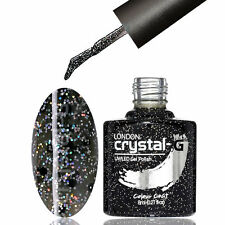 CRYSTAL-G - D27 NOOR BLACK - DIAMOND GLITTER SHIMMER UV LED GEL NAIL POLISH
