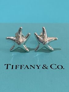 Tiffany & Co Elsa Peretti Starfish Earrings In Silver With Diamonds, $1350
