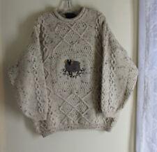 Acorn -Sz L SHEEP Aran Wool Art-to-Wear Fisherman Knit Sweater Jumper