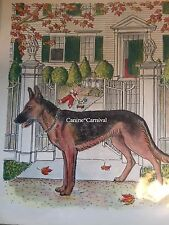 GERMAN SHEPHERD ALSATION FAMILY DOG  RARE VINTAGE Art Print 1950 AWESOME