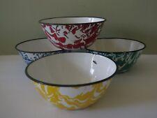 4 Vintage Graniteware / Enamelware Swirl Bowls - Red Green Blue & Yellow