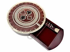 "10"" Round Shape 3 Track Continuous Cribbage Board Bloodwood/Maple - Push Drawer"