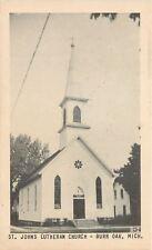 Burr Oak Michigan~8-Petal Daisy Window @ St John's Lutheran~1940s B&W Postcard