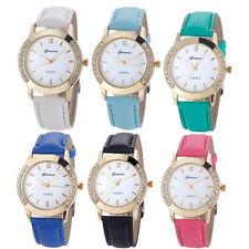 Neue Armbanduhr für Damen Kunstleder Quarzuhr versch. Farben Frauen Strass