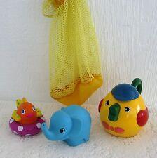 3 Bath & Water Play Toys + Net Bag - Sassy Fish, Bird Teapot, Squirty Elephant