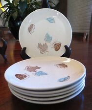 """Royal China Falling Leaves 6 Bread & Butter Plates 6 1/4"""" MCM dinnerware"""