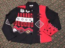 Sz M Vtg 90's Cocon Bay Blazer Black/Red 100% Silk Fully Lined W/SHOULDER PADS