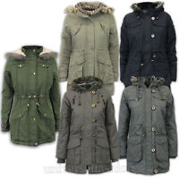 Ladies Jacket Brave Soul Womens Parka Coat Hooded Military Fur Padded Winter New
