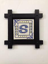 TILE Handcarved Celtic S on black frame NC artist Helen Seebold