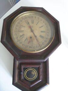 Antique Waterbury Regulator Wall Clock with Pendulum