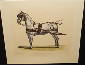 """BRICE THOMAS """"ATTELACE DE POSTE"""" LARGE HAND COLORED FRENCH ENGRAVING SIGNED"""