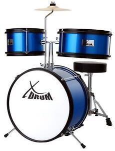 Set Batteria Percussione Drum Set Principianti Bambini Azzurro Giocattoli Musica