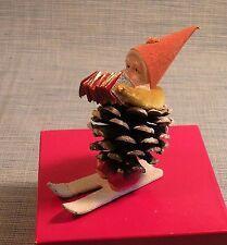 OLD JAPAN PINECONE CHRISTMAS SANTA ON SKIIS W/ ACCORDIAN