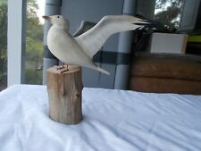 R. G. Jansson Folk Art Carved Seagull Wood Bird Carving Cape Cod Wooden Figurine