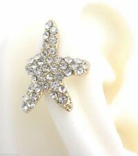 Starfish Crystal Ear Cuff One Earring Gold Plated No Piercing New Women