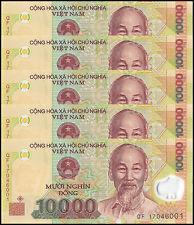 Vietnam (Viet Nam) 10,000 (10000) Dong X 5 Pieces (PCS), 2017, P-119, UNC