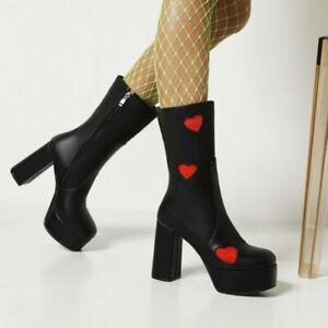 Women Mid Calf Boots Block Heels Gothic Round Toe Zip Platform Heart Print Shoes
