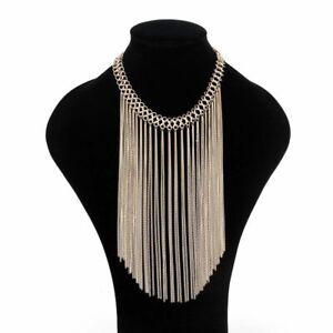 Women Chain Statement Tassel Chunky Pendant Choker Bib Necklace Jewelry