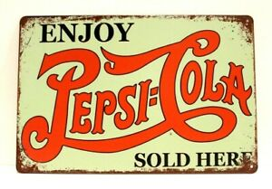 New Enjoy Pepsi Cola Tin Metal Sign Soda Sold Here Rustic Vintage Ad Style Diner