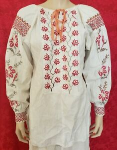 Vtg Antique Late 1800s Early 1900s FOLK ETHNIC EMBROIDERED Cotton PEASANT SHIRT