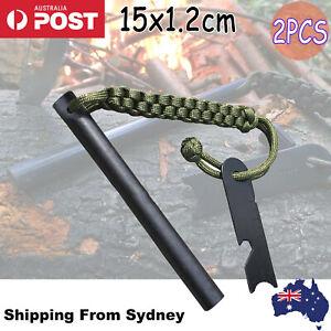 2Pcs Ferrocerium Flint Rod 15x1.2cm Survival Fire Starter with Striker Para-cord