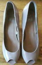 WOMENS F&F NUDE PATENT PEEP TOE SHOES SIZE 4 GOOD CONDITION