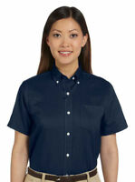 Van Heusen Women's Short Sleeve Wrinkle Resist Chest Pocket Dress Shirt. 59850