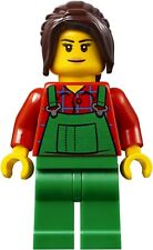 Lego minifigure BN city female mini figure girl green overalls flannel top brown