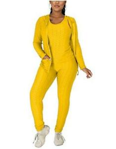 Women's Textured 3 Piece Outfits Tracksuits Jogging Suits, Yellow, Size X-Large