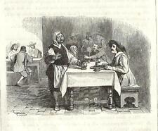 Stampa antica PROMESSI SPOSI Renzo e l' Osteria della Luna Piena 1840 Old Print.