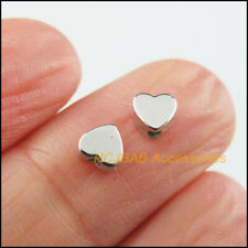 200 New Tiny Heart Spacer Beads Charms Acrylic Dull Silver Plated 5mm